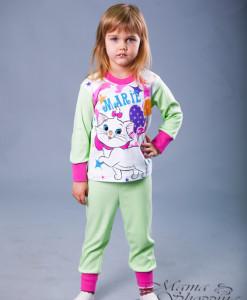 пижама на девочку теплая салатовая 86,98,110,116